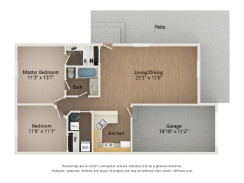 Floor Plan One Story Townhome