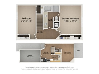 Two Story Townhome floor plan image of levels 1 and 2