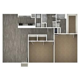 Floor Plan 2 Bedroom | 2 Bath D
