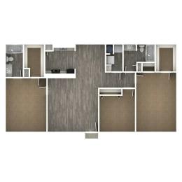 Floor Plan 3 Bedroom | 2 Bath