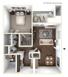 Floor Plan 1 Bedroom 1 Bath  650 SF