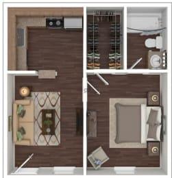 Floor Plan 1 Bed | 1 Bath A