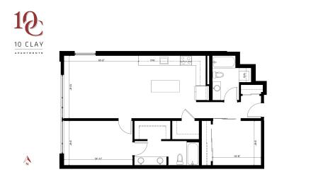 Floor Plan One Bedroom Two Bath + Den
