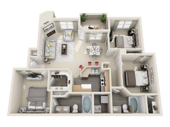 Three Bedroom C1 Floor Plan at Village at Desert Lakes, Las Vegas, 89117