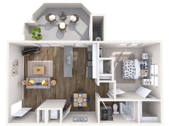 Gem Renovated 3D Floor Plan at Biscayne Bay Apartments, Chandler, Arizona