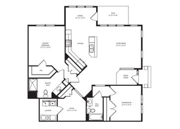 Floor Plan 2B-2BADen 1445sf - Horizon