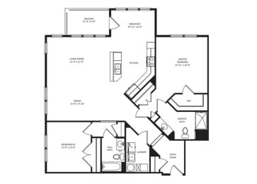 Floor Plan 2B-2BA 1455sf - Landscape