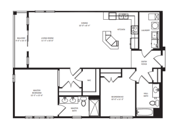 Floor Plan 2B-2BA 1259sf - Panorama