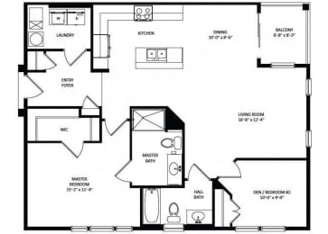 Floor Plan 2B-2BA 1130sf - Skyline II