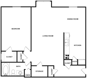 Floor Plan Renovated 1 Bed | 1 Bath