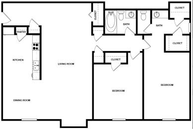 Floor Plan Renovated 2 Bed | 1.5 Bath