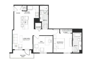 Floor Plan 1F- One bed w/den