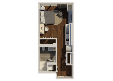 Studio Style 1 Apartment Floor Plan at Eleven40, Chicago, IL, 60605