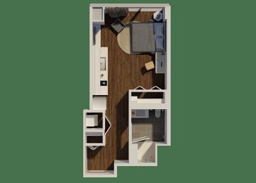 Studio Style 2 Apartment Floor Plan at Eleven40, Chicago, IL