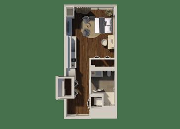 Studio Style 3 Apartment Floor Plan at Eleven40, Chicago, 60605