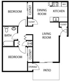 2X1 floor plans available at Vizcaya Apartments in Santa Maria, CA
