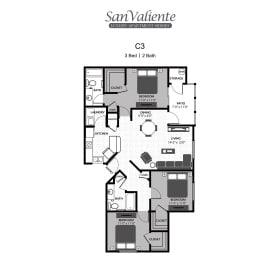 San Valiente : C3 Floorplan : 3B/2B