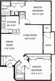 2 Bedroom 2 Bathroom Floor Plan at Waterside at Reston, Reston, 20194