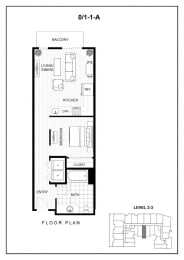 BLU Bellevue Apartments 0x1 1 A Floor Plan