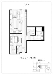 BLU Bellevue Apartments 0x1 4 Floor Plan