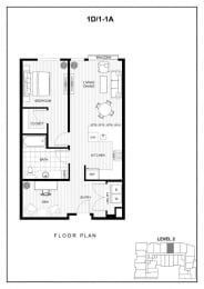 BLU Bellevue Apartments 1D 1 A Floor Plan