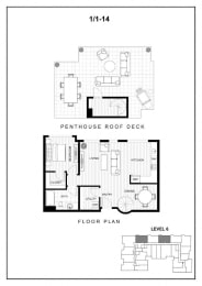 BLU Bellevue Apartments 1x1 14 Floor Plan