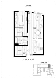 BLU Bellevue Apartments 1x1 15 Floor Plan