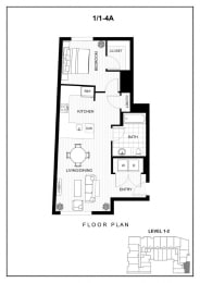 BLU Bellevue Apartments 1x1 4 A Floor Plan