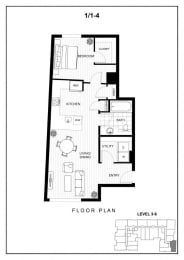 BLU Bellevue Apartments 1x1 4 Floor Plan