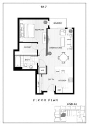 BLU Bellevue Apartments 1x1 7 Floor Plan