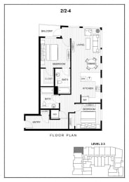 BLU Bellevue Apartments 2x2 4 Floor Plan