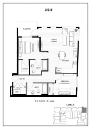 BLU Bellevue Apartments 2x2 9 Floor Plan