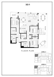 BLU Bellevue Apartments 3x2 1 Floor Plan