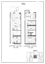 BLU Bellevue Apartments TH 2 Floor Plan