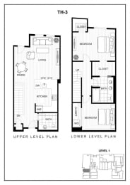 BLU Bellevue Apartments TH 3 Floor Plan