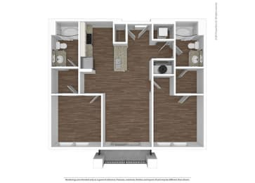 2 Bed 2 Bath Floor Plan at The Ivy at Berlin Place, South Bend, 46601