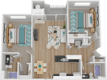 2B 2 Bed 2 Bath Floor Plan at Marina Village Apartments, Sparks, NV, 89434
