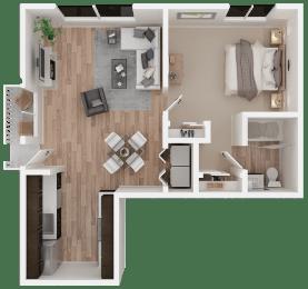 One-bedroom floor plan 758 square feet