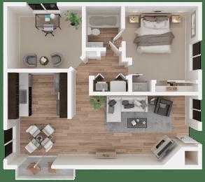 One-bedroom floor plan 974 square feet