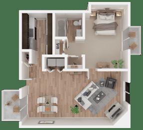 One-bedroom floor plan 885 square feet