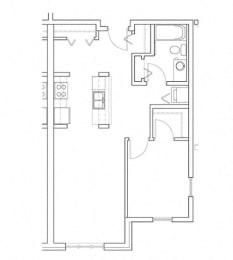 Relax – 1 Bedroom 1 Bath Floor Plan Layout – 730 Square Feet