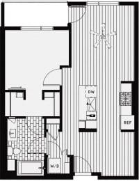 b1 – 1 Bedroom 1 Bath Floor Plan Layout – 743 Square Feet