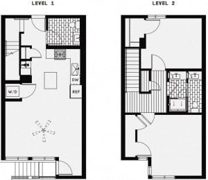 L2 – 2 Bedroom 1.5 Bath Floor Plan Layout – 1170 Square Feet