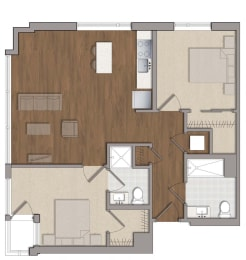 B1 Floor Plan at The George, Wheaton, MD
