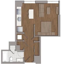 S5 Studio Floor Plan at The George, Wheaton, MD, 20902