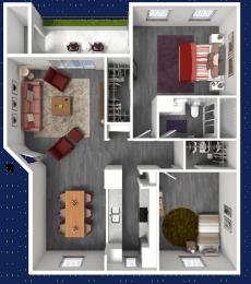 B3 alt 3d Floorplan at The Alara, Houston, Texas
