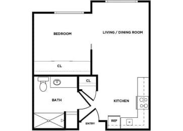 Floor Plan  A1 floor plan at Boardwalk Apartments