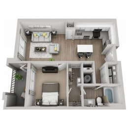 Azure 1-bed, 1-bath floor plan layout at Pointe Lake at Crabtree
