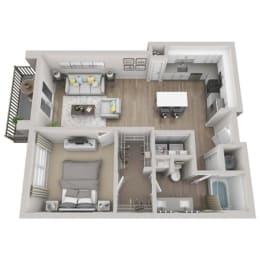 Cobalt 1-bed, 1-bath floor plan layout at Point Lake at Crabtree Apartments in Morrisville, NC