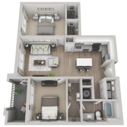 Fern 2-bed, 1-bath floor plan layout at our Morrisville apartments